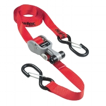Set of 2 ratchet tie downs with S hooks 4,25m - colour : red