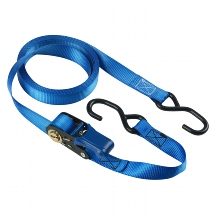 Set of 4 ratchet tie downs 5m with S hooks - colour : blue I