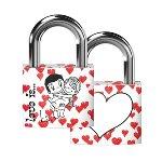 Liebesschloss Love is... - Design weiß/rot