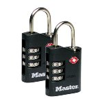 2 x 30mm zinc TSA padlocks - 3 digits resettable combination