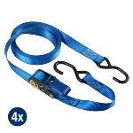 Set of 4 ratchet tie downs 5m with S hooks - colour : blue I