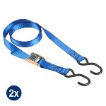 Set of 2 spring clamp tie downs 2m with S hooks - colour :
